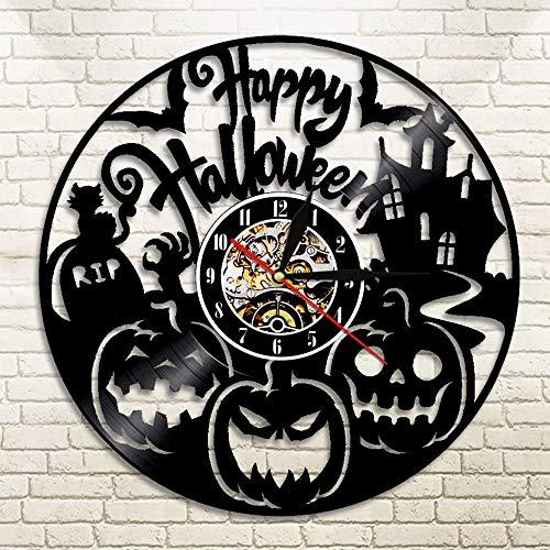 �ckHalloween Vinyl Uhr, KürbisWanduhr, handgeschnitzte Vinyl Uhr, Halloween Schatten, Kunst Silhouette ()