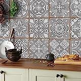 24x mezcla de mosaico gris Lámina impresa 2D 15 x 15cm PEGATINAS lisas para pegar sobre azulejos cuadrados de 15cm en cocina,