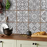 24 Grey Tile Stickers Victorian Moroccan Mosaic Style Tile Stickers Transfers Cover for 6x6 15 x 15cm tile Kitchen…