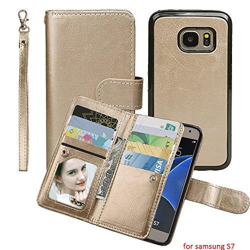 Preisvergleich Produktbild Samsung Galaxy S7 Hülle, xhorizon TM MW8 [Aktualisiert] [Luxusgold] [Erklassig] [Magnetisch Auto Mount Kompatible] Premium PULeder Magnetisch Abnehmbar Mappen Kasten Abdeckung mit Kartensteckplätze Galaxy S7