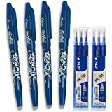 Pilot-4 Bolígrafos Borrables Frixion Ball y Seis Recambios (Azul)