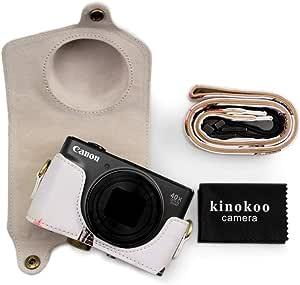 Canon Sx740 Hülle Kinokoo Pu Leder Kameratasche Mit Riemen Für Canon Powershot Sx720 Hs Sx730 Hs Und Sx740 Hs Weiß Elektronik