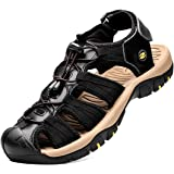 Mens Sandals Sports Outdoor Hiking Sandals Leather Walking Sandal Shoes Summer Casual Athletic Beach Comfortable Toecap Adjus