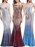 Ever Pretty Frauen Elegant anmutigen Pailletten Langen Abendkleid 44 Größe Grau