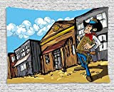 daawqee Western Tapestry Cartoon Cowboy Wrangler in an Old West Town Looking Down The Street Wild Adventure for Living Room Bedroom Dorm 80 W X 60 L Inches Unique Home Decor