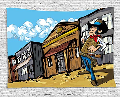 TRUIOKO Western Tapisserie, Cartoon Cowboy Wrangler in an Old West Town Looking Down The Street Wild Adventure, Wall Hanging for Bedroom Living Room Dorm Wall Tapisserie Decor, 80 W X 60 L Inches