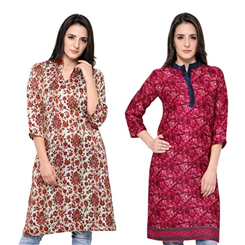 Eternal Women's Printed Pashmina Knee-Length Kurti With Pocket in Combo( TSFPS-CMB_XXL, XX_Large)