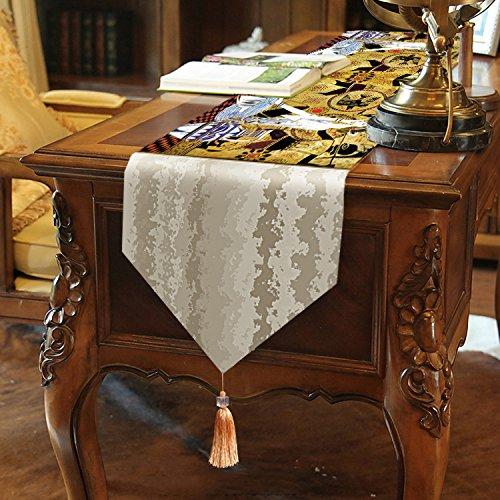 National Style Tischläufer Top Grade samtig–memorecool Haustierhaus Schöne Fransen Decor alle Jahreszeiten kein Verblassen 33x 180,3cm 1, Khaki1, 13x95inch (Tischläufer 36 Zoll)