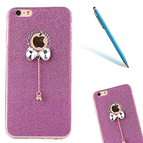 "iPhone 5s Handyhülle, iPhone SE Tasche, CLTPY Elegante Sparkly Series Slim Fit Silikon Cover, Kreativ Bling Diamant Bowknot Design Abdeckung für 4.0"" Apple iPhone 5/5s/SE + 1 x Stift - Grün 1 Lila 1"