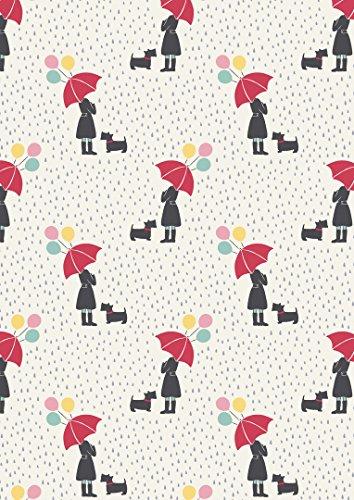 Regenschirm Luftballons Regentropfen Stoff lew59weiß-April Showers von Lewis und Irene-100% Baumwolle-0,5m-grau pink blau gelb auf weiß Hintergrund Stoff (April Showers-stoff)