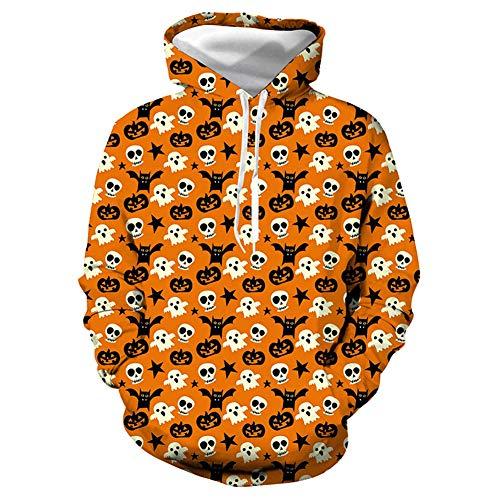 HUIKEYI Arbeiten Sie Hoodie 3D mit Kapuze Sport-Pullover-Strickjacke im Freien, Monster-Kürbis-Druck mit Kapuze lose Taschen-Strickjacke-langes Hülsen-Halloween-UnisexCosplay um (Monster Hoodie Kostüm)
