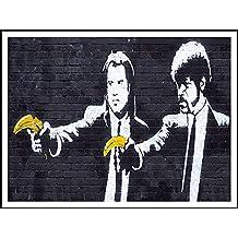 imagenation Banksy 'pistolas de Pulp Fiction Banana'–60cm x 80cm impresión en láminas autoadhesivas papel Póster
