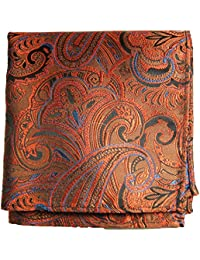 Paul Malone de carré de poche mouchoir 100% soie Orange paisley
