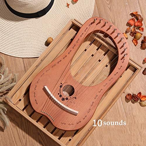 Tragbare Leier Harfe Metallsaiten, 10 String Kleine Harfe, Mahagoni Lye Harfe, gravierte Sonnengöttin Entwurf, mit Stimmschlüssel Pick-up,Woodcolor