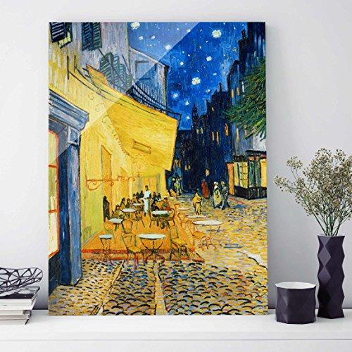 Bilderwelten Glasbild - Kunstdruck Vincent van Gogh - Café-Terrasse am Abend in Arles - Post-Impressionismus Hoch 4:3, Wandbild Glas Bild Druck auf Glas Glasdruck, Größe HxB: 80cm x 60cm
