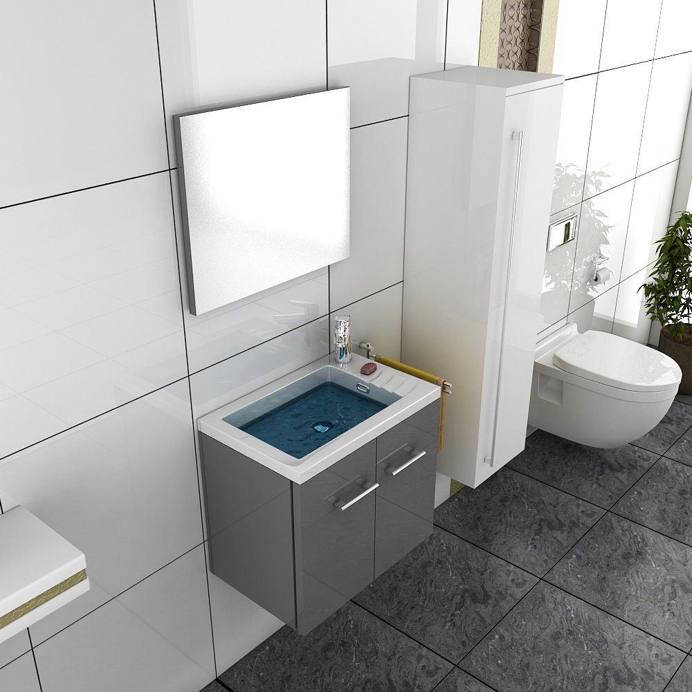 Mobiletto con lavabo,/Design Specchio Bagno mobile da bagno con lavabo Soluzione Grigio Mobili da b