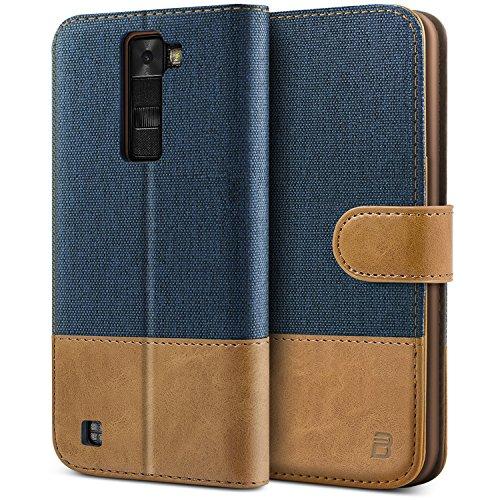 LG K8 Hülle, BEZ® Handyhülle LG K8, Handytasche Schutzhülle Tasche Flip Case [Stoff Bezug und PU leder] mit Kreditkartenhaltern, Standfunktion, Blaue Marine