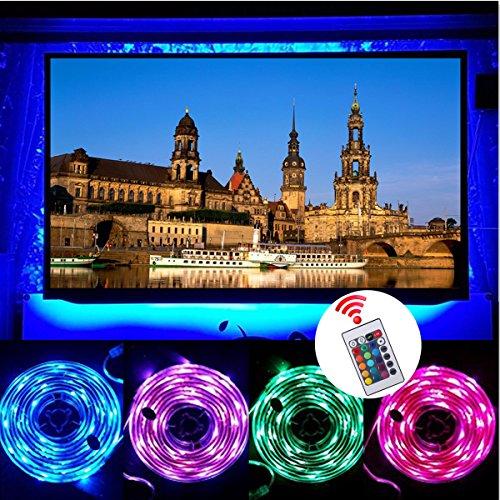 TV Hintergrundbeleuchtung, GLISTENY LED Streifen 1M RGB Band Leiste mit Fernbedienung 24 Tasten Flexibel Wasserdicht dekorative fur TV-Deko Weihnachten Neujahr Karneval Hochzeit Party