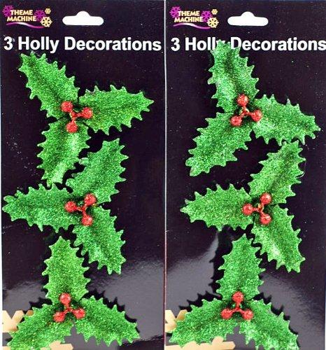 Set di 6glitter Holly ramoscelli con clip, Christmas Craft decorazione torte o Decoartion