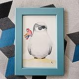 Petit Pino - Der kleine Pinguin - Aquarell - Pirat Pontus - Gemälde - Bild + Bilderrahmen - Papagei