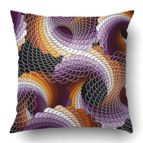 TEPEED Throw Pillow Covers Lace Abstract Will Endlessly Helix Coil Continuity Curve Round Seam Spiral Polyester 18 X 18 inch Square Hidden Zipper Decorative Pillowcase Lace Helix