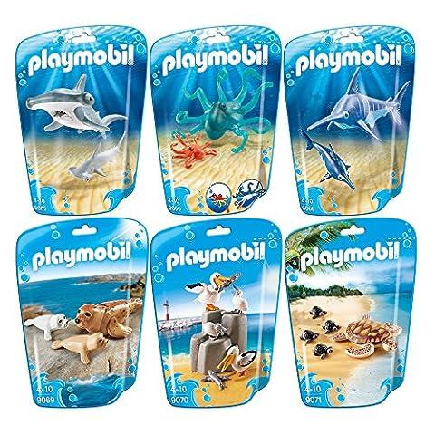 PLAYMOBIL® Family Fun set en 6 parties 9065 9066 9068 9069 9070 9071 hammerhead avec bébé + octopus avec bébé + swordfish avec bébé + sceller avec bébé + famille pelican + tortue avec