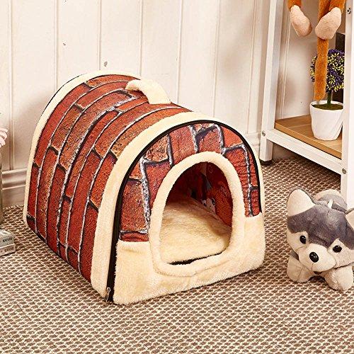 Cosy Weiche Hundebett Hundehaus Hundehöhle Haustier Bett Warm Schlafsack Korb hundehütte mit Ablösbar Kissen Matte für Hunde, Katzen (M, Retro Brick Muster)