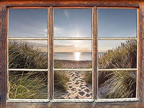 le chemin de la mer Fenêtre en 3D look, mur ou format vignette de la porte: 92x62cm, stickers muraux, sticker mural, décoration murale