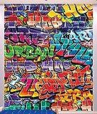 Walltastic 43855 Fresque Murale Papier Peint Graffitis Rouge/Bleu/Jaune, 243 x 305 x 0,1 cm