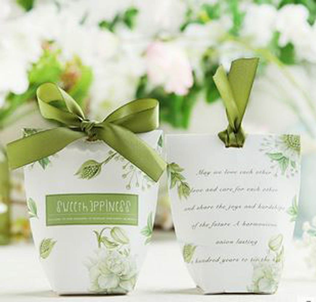 20 Pcs Pack Decorative Candy Box Wedding Party Favor Gift Box Wheat Light Green