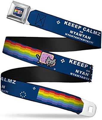 Nyan Cat Flying in Space Black Buckle-Down Seatbelt Belt 1.0 Wide 20-36 Inches in Length