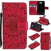 Samsung Galaxy J3 2017 Case / Samsung Galaxy J3 Prime Case, Dfly Premium Soft PU Leather Embossed Mandala Design Kickstand Card Holder Slot Slim Flip Protective Wallet Cover for Samsung Galaxy J3 2017 / J3 Prime, Red