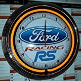 NEONUHR - FORD RACING RS NEON ORANGE - GARAGE WERKSTATT WANDUHR NEON REKLAME