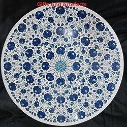 """Caro 48""""redondo blanco mármol mesa de café parte superior incrustaciones Lapis Lazuli Piedra Royal diseño"""