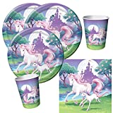 32-teiliges Party-Set Einhorn - Unicorn - Teller Becher Servietten für 8 Kinder