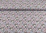 Toller Baumwoll Jersey Stoff mit dem Muster roten Herzen