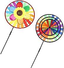 MagiDeal 2 Pieces Portable Circles Sunflower Rainbow Windmills Windsocks Whirligig Wheel Garden Camping Decor Kids Outdoor Toys