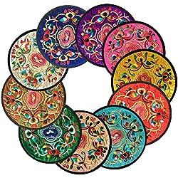 """Ambielly redondo hecho a mano del ganchillo del algodón del cordón de mesa manteles Doilies, Value Pack / 10 PCs (5.12""""/13cm, Los colores mezclados)"""
