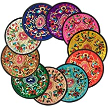 Sottobicchieri, Ambielly Vintage Ethnic Floral Design Placemat Value Pack, 10pcs / Set,5.12
