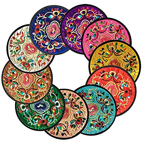 Coasters pour boissons, Vintage Design Floral ethnique Placemat Value Pack, 10pcs / Set (5.12
