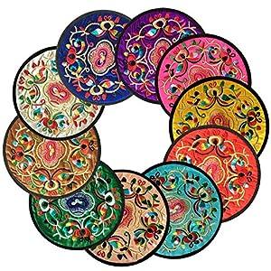 Ambielly vintage design etnico floreale tessuto sottobicchieri sottobicchieri per tazze, confezione risparmio da 13cm/13cm Mixed Colors