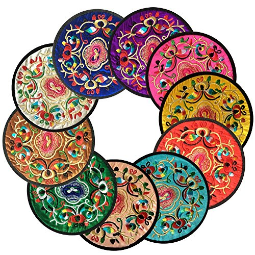"Sottobicchieri, Ambielly Vintage Ethnic Floral Design Placemat Value Pack, 10pcs / Set,5.12 ""/ 13 cm (colori misti)"