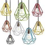 Sharplace Vintage Diamant Lampenschirme aus Metall für Hängeleuchte Deckenleuchte Wohnzimmer Lampe 20x20cm - Gelb, 20x20cm