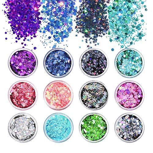MOSUO Make-Up Glitzer Gesicht, 12 Boxen Glitzer Sequin Chunky Glitter für Nagel Haare Körper Augen Lippen, Glitzer Paillette Glitzerpartikel Dekoration für Musik Festival Masquerade Party
