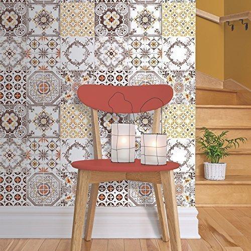 muriva-tile-pattern-retro-floral-motif-kitchen-bathroom-vinyl-wallpaper-j95605