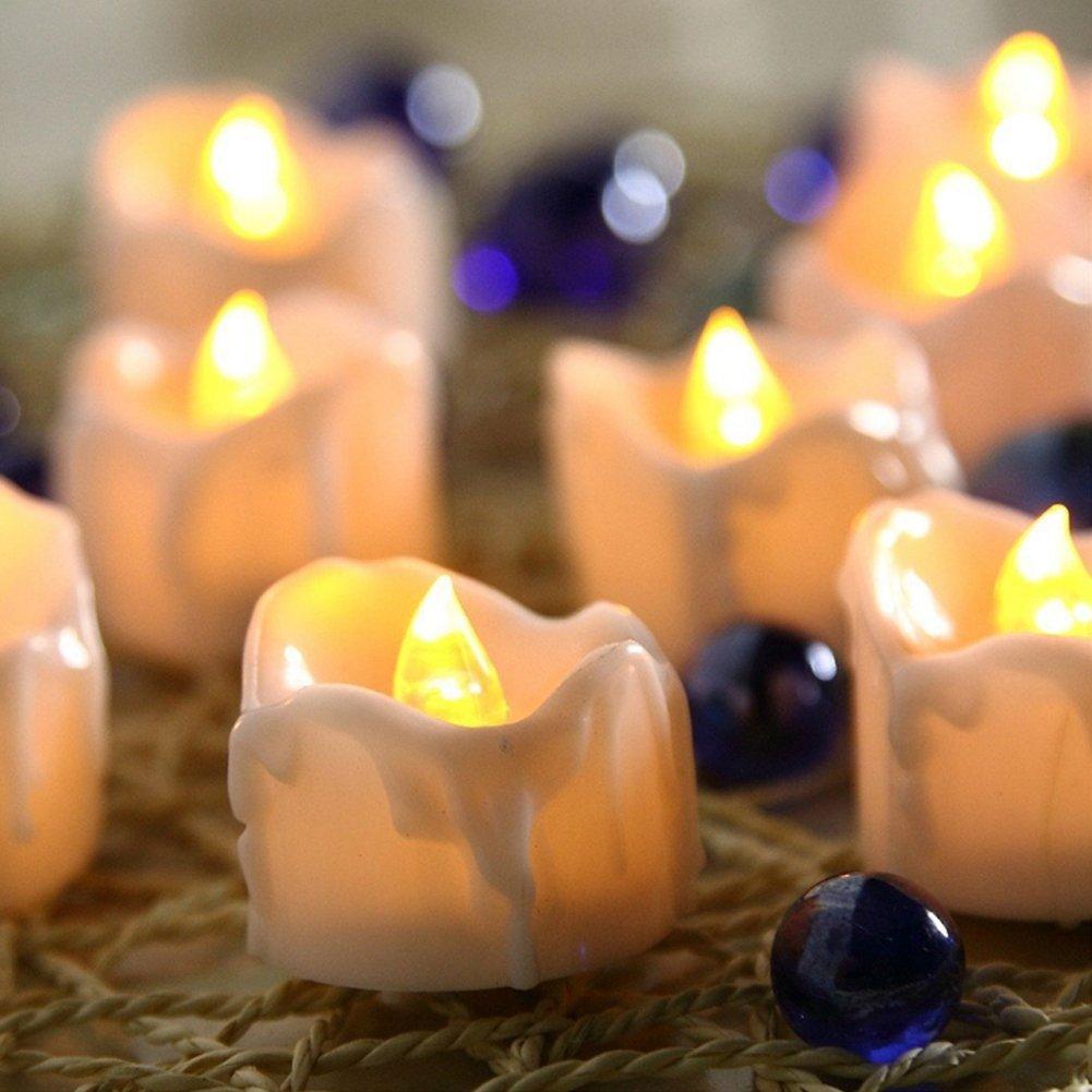 ZUOAO Set de 12pcs Velas sin llama LED con Temporizador La Rom/ántica Luz El/éctrica Parpadeo de la Vela para Decoraci/ón Candelita para Bodas Fiesta de Navidad Casa Sala Blanco c/álido