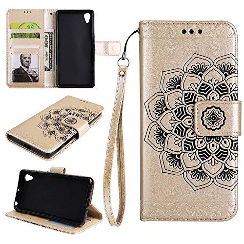 Tasche Hüllen Schutzhülle - case cover Bedruckt mit Blumen Muster stehen Zelle - Gold für Sony Xperia XA1 Ultra (Stehen Zelle)