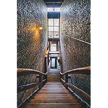 aaloolaa 5x 7ft photography Vintage escaleras pasamanos de madera retro lámpara de pared de ladrillo decoración de interiores adulto chica amante Kid retrato artístico vinilo fondo para estudio fotográfico accesorios vídeo Shooting Studio