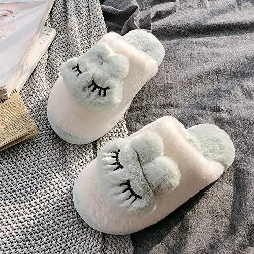 Flip Flop-GQ Winter Indoor Warm Paar Cute Indoor Plüsch Schlafsaal Winter Snug Slip On Hard Sole Knöchel Stiefeletten Hausschuhe-40-41_Kaninchen grün -
