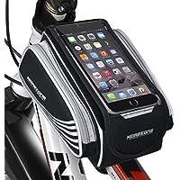 Fahrradtasche Rahmentaschen, MOREZONE Fahrrad Rahmentasche Frarradschnalletasche mit zwei Fäche, geeignet für Handy mit Größe unten 5,5 , Farhradlenkertasche Fahrradtasche Lenker